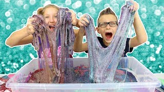 100 Layers of Glitter in Giant Clear Slime!!!!!