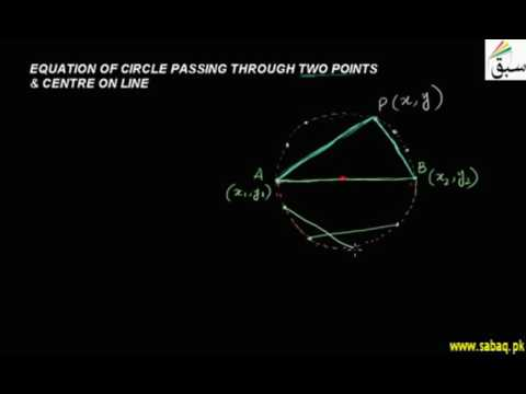 Equation of Circle Passing Through 2 Points and its Centre on Line