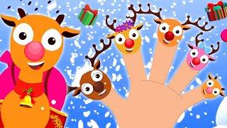 Reindeer Finger Family | Christmas Songs for Kids | Finger Family Cartoon Videos