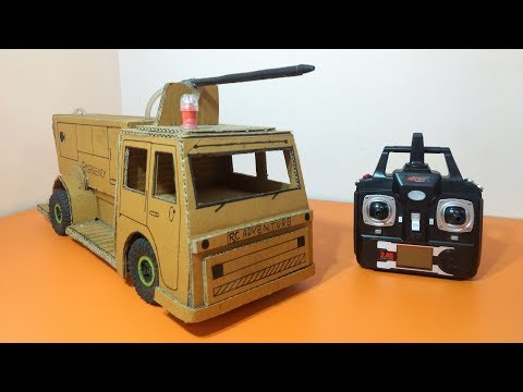 How To Make a Powerfull Fire Truck At Home - Remote Control Truck Using Cardboard (Electric Truck)