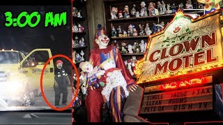 (CLOWN CHASE) 3 AM OVERNIGHT CHALLENGE AT CLOWN MOTEL (GONE WRONG) | WE GOT CHASED BY A REAL CLOWN