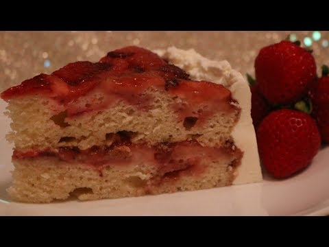 Double Layer Strawberry Upside Down Cake