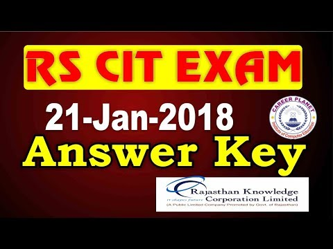 RSCIT Answer Key 21 January 2018|RKCL RSCIT Exam Question Paper with Solution