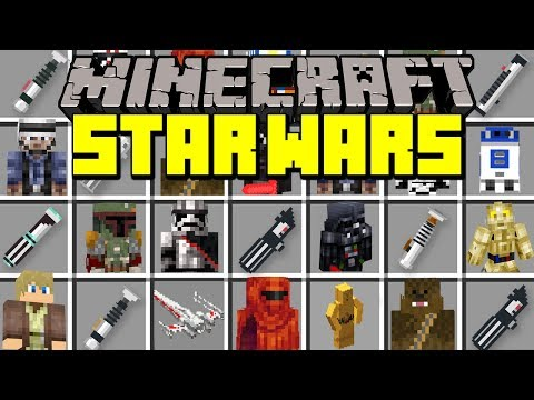 Minecraft STAR WARS MOD! | LIGHTSABERS, DROIDS, X-WING, DARTH VADER & MORE! | Modded Mini-Game