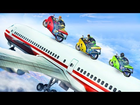 STUNTING A BIKE ON A PASSENGER PLANE!? (GTA 5 Funny Moments)
