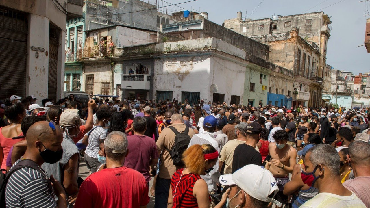 Cubans protest against communist rule