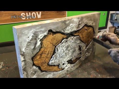 Pouring Molten Aluminum in Oak! Epic Table of Wood  Aluminum and Epoxy. Заливка алюминия в дерево!