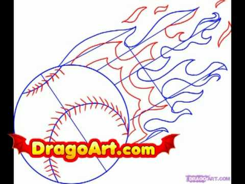 How to draw a baseball, step by step
