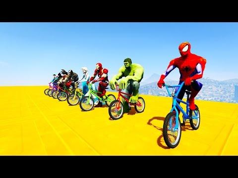 COLOR BIKES BMX Superhero Jump from Big Ramp! Cartoon animation for kids
