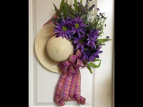 How to make a beautiful wall or door decoration from a dollar tree straw hat