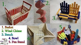 Really Awesome 5 Popsicle Diy | Popsicle Stick Craft | Ice Cream Stick  Craft | Creative Video