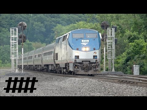 Amtrak Pennsylvanian P42DC 118 at Huntingdon, PA Station PT 202.5 on the Pittsburgh Line
