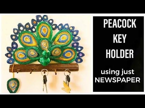 HOW TO MAKE  NEWS PAPER WALL HANGING/DIY PEACOCK KEY HOLDER-DIWALI DECOR