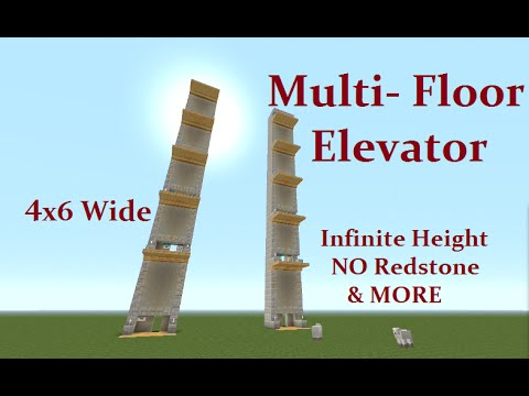 Minecraft Tutorial : Multi Floor Elevator, NO Command Blocks, No redstone CHECK IT OUT ...
