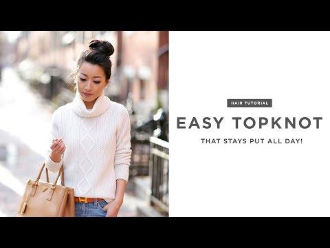 Hair tutorial: my secrets to an easy topknot / bun updo
