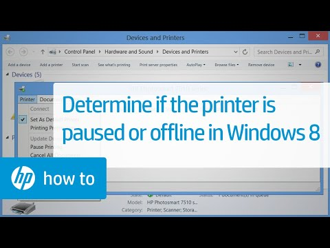 Determining Whether the Printer is Paused or Offline in Windows 8