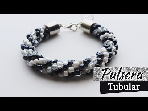 Crochet - Pulsera  tubular con mostacillones - Tejido circular