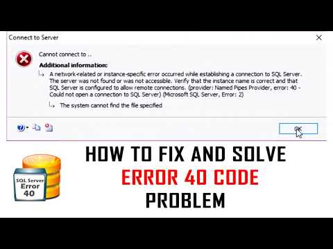 FIXED - SQL Server error 40 & 2