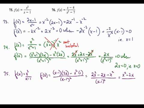 Derivative Rules - Quotient Rule - Finding Horizontal Tangents