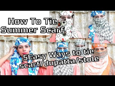 How to tie summer scarf | 5 Easy & Different Style/Ways to tie summer scarf || Glad To Share