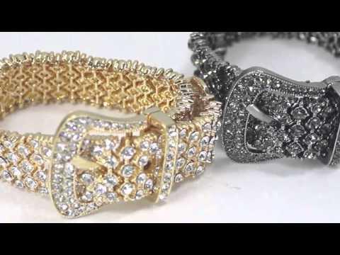 Rhinestone Pave Belt Buckle Bracelet Adjustable Stretch Bracelet