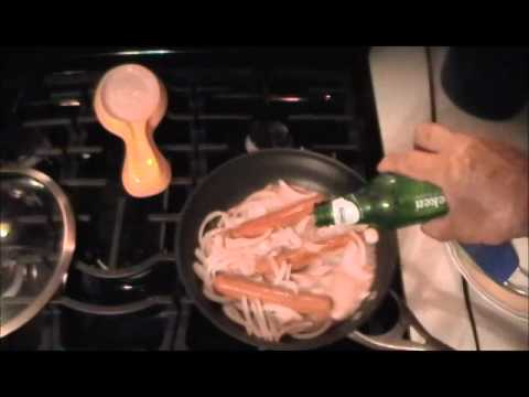 hot dogs cooked in beer with onion garlic