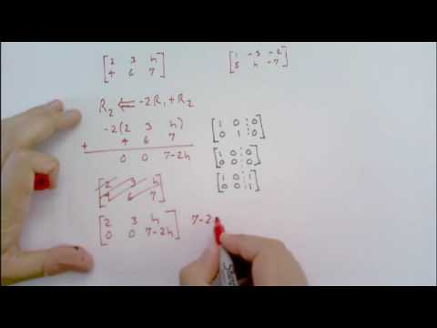 Determine the value(s) of h such that the matrix is the augmented...