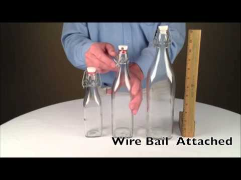 Swing top square glass bottles
