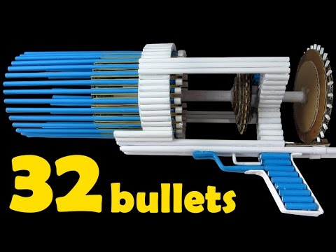 How To Make a Paper Gun That Shoots 32 Bullets - (Automatic Machine Gun)
