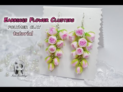 Earrings with flowers. Grapes ✿ Polymer clay Tutorial