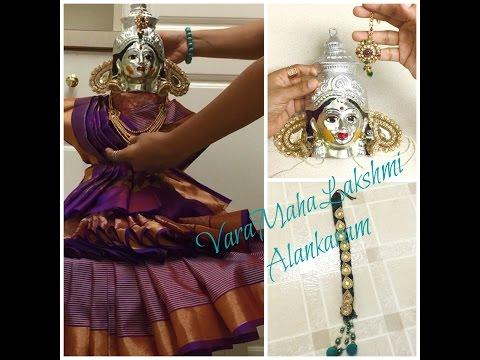 VaraMahaLakshmi Alankaram/ Learn how to prepare VaraLakshmi Idol ready for Pooja part 2