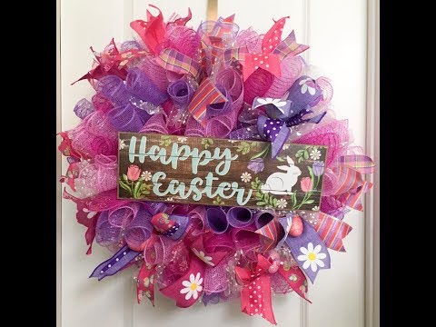 How to make a Curly Deco Mesh wreath with ruffles for Easter or Spring