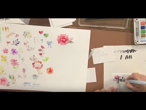 Create Gorgeous Watercolor Flowers and Brush Lettering Placecards