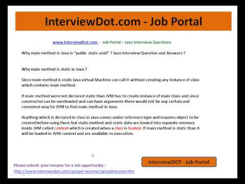 Java Interview Question and Answer Why main method in java public static void