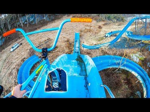 MAX SPEED SNOW BMX CRASH IN WATERPARK!
