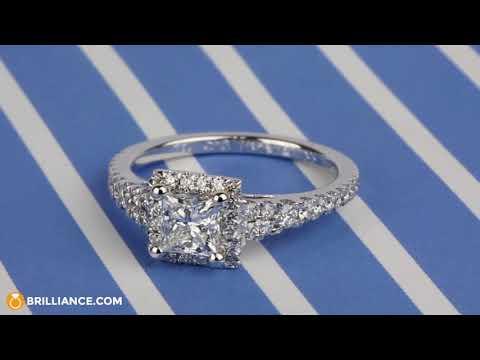 Split Shank Halo Princess Diamond Engagement Ring (1 Carat)