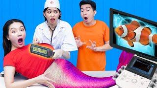 My Girlfriend Was A Mermaid - Funny Mermaid Situations | 24 Hours Challenge As Pregnant Mermaid