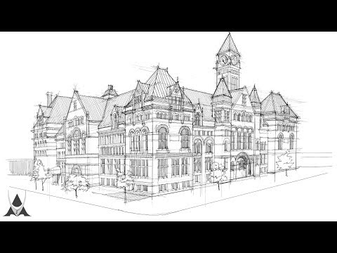 Freehand Architectural Sketch # 04 Old City Hall (Toronto, CA)