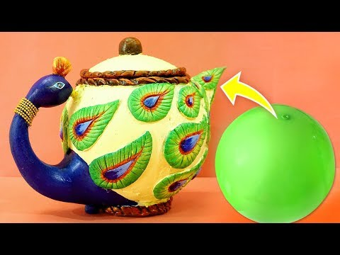 Easy Best Out of Waste Craft from Plastic Ball | Peacock Home Decor | Plastic Ball Life Hacks