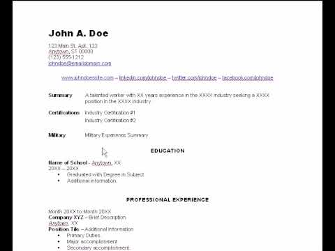 Resume Template Overview