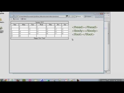 Create a calendar using HTML Table tags