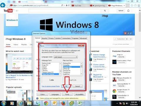 Changing Webpage Font in Internet Explorer® 10 browser