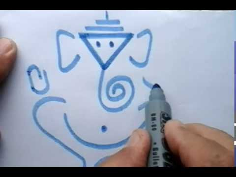 Drawing the visual symbol of Lord Ganesha with a triangle