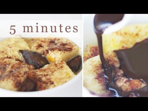 5-Minute Chocolate Bread Pudding in Mug - Microwave Recipe 전자렌지 브레드푸딩 만들기