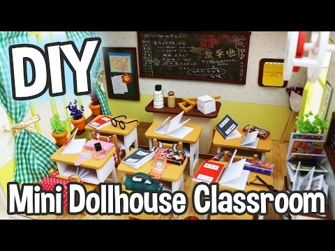 DIY Miniature Dollhouse Kit Cute School Classroom Roombox with Working Lights! / Relaxing Crafts