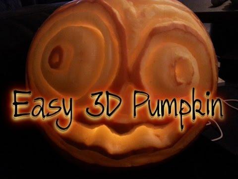 Halloween Tutorial  3D Pumpkin Carving - Easy