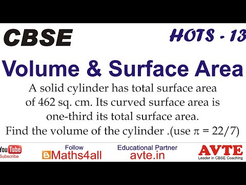 A cylinder has Total Surface Area 462 sq.cm. It's Curved SA is one-third It's TSA. Find Volume || 12