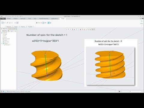 PTC Creo 4.0 tutorial: How to create Worm Gear Shaft with 2 Creo features in 3 minutes