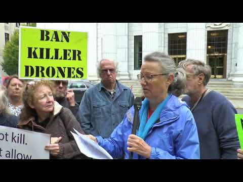 Grandma Drone Protester, Mary Anne Grady Flores Press Conference NYS of Appeals Case 10 11 2017