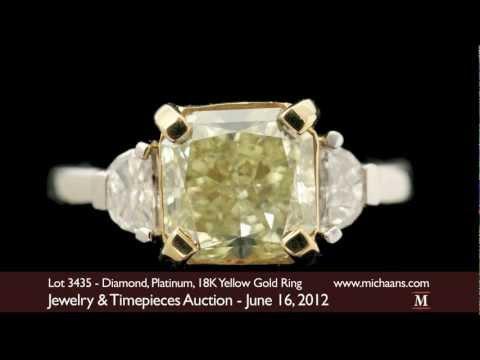 4.02 ct Fancy Colored Diamond, Platinum, 18K Yellow Gold Ring